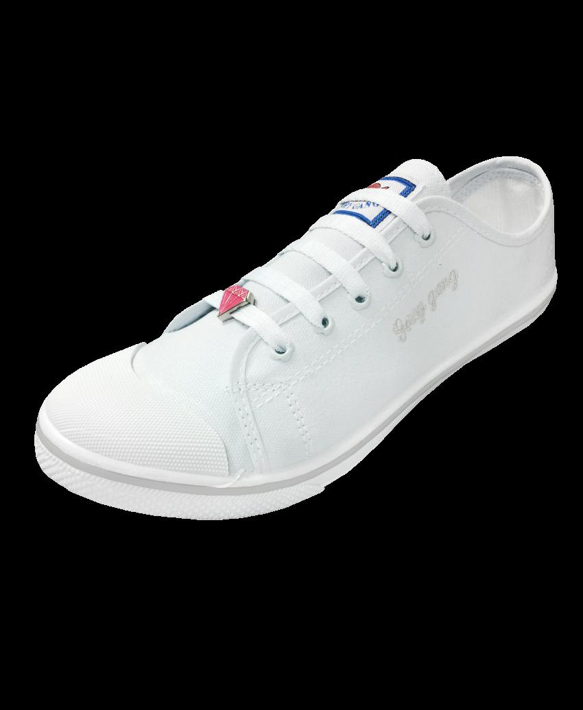 รองเท้าผ้าใบสีขาว ร้อยเชือกไดมอนด์ F499