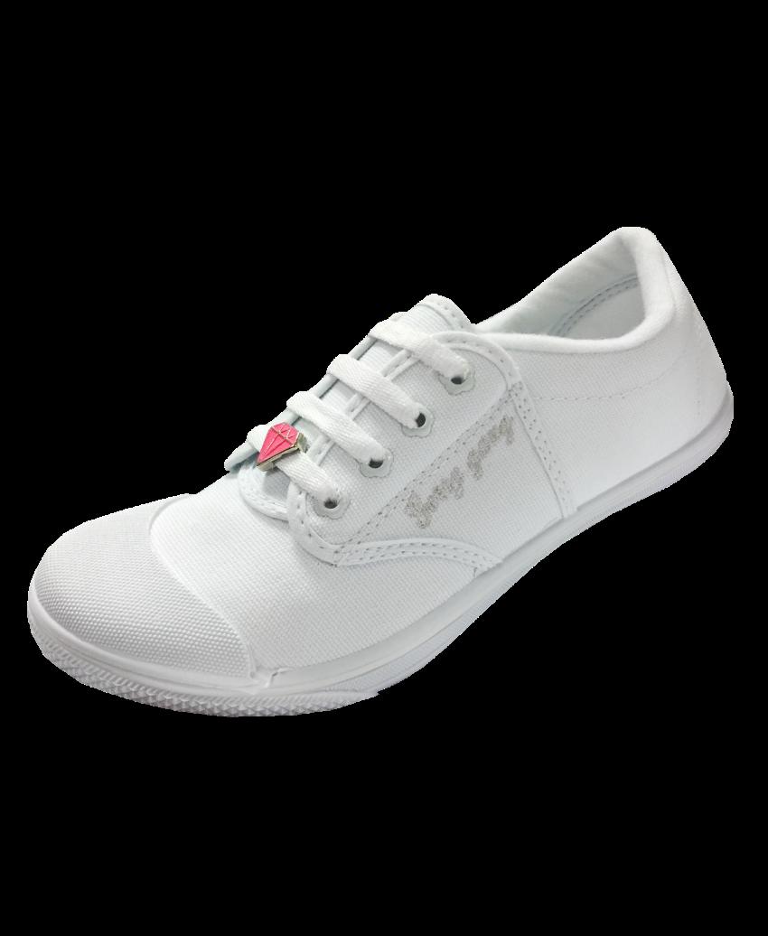 รองเท้าผ้าใบสีขาวมีนวม ร้อยเชือดไดมอนด์ F999
