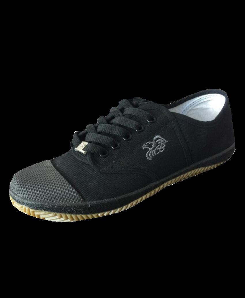 รองเท้านักเรียนผ้าใบพื้นเหลืองสีดำ FB5809