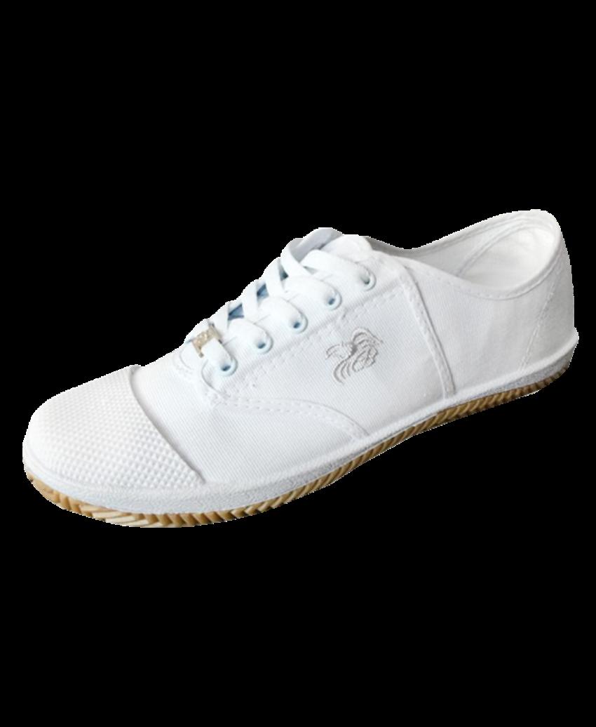 รองเท้านักเรียนผ้าใบพื้นเหลืองสีขาว FB5809