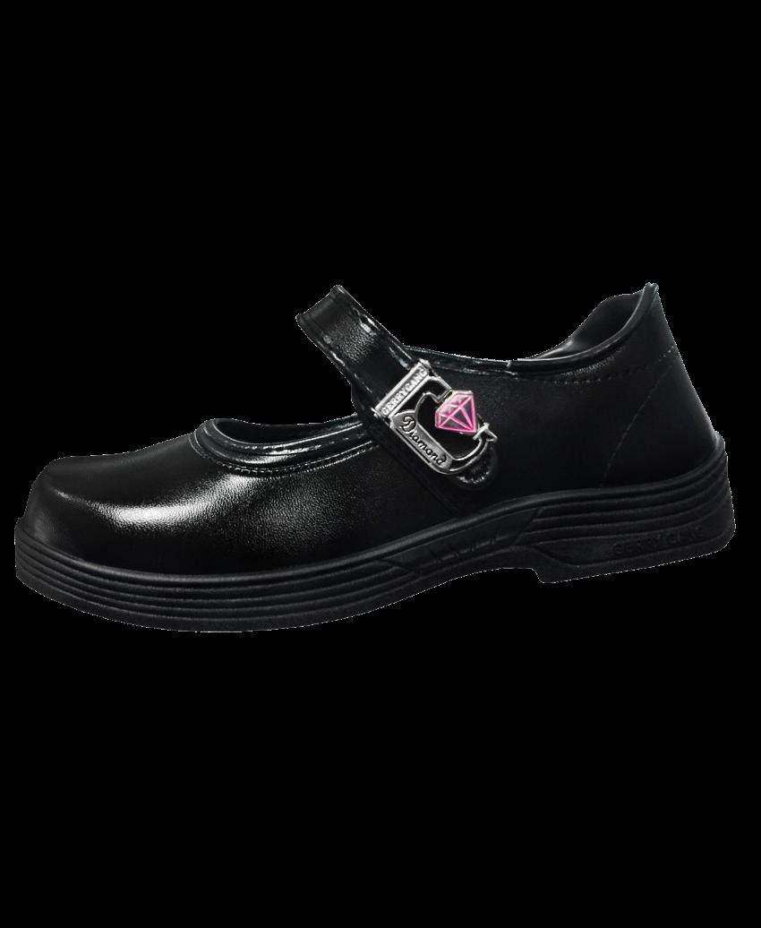 รองเท้านักเรียนผ้าใบหนังดำ เข็มขัดล็อครูปเพชร G6107